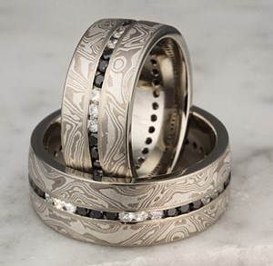 Mokume Gane Wedding Bands with white and black diamond accents