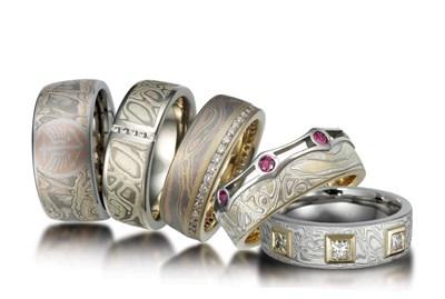 Mokume Wedding Rings