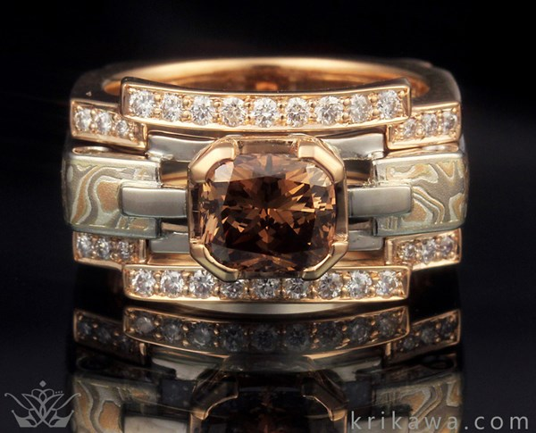 Falling Water Mokume Bridal Set