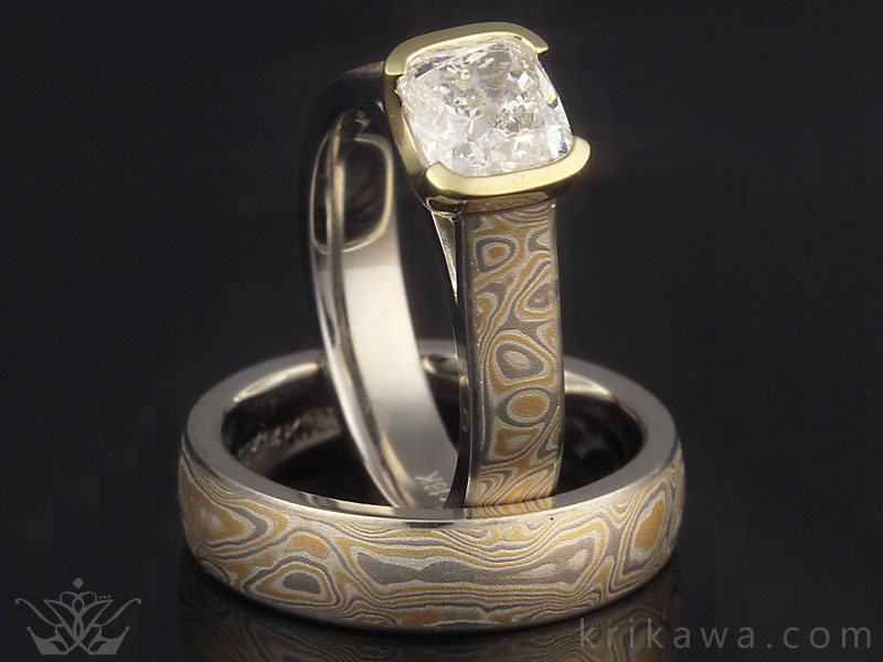 mokume engagement ring and matching wedding band