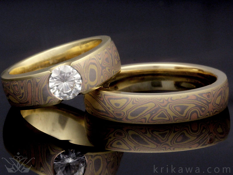 Tricolor Mokume Wedding Ring Matched Set