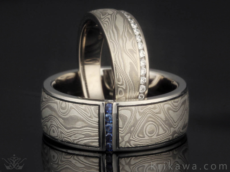 matching mokume gane wedding set