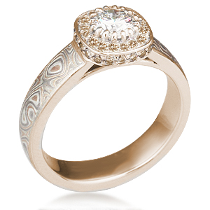 Mokume Halo Engagement Ring with Champagne Diamond Accents
