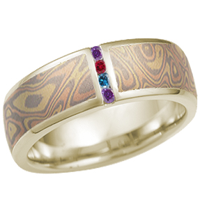 Trigold Mokume Wedding Band with Colored Diamond Channel