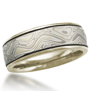 Winter Mokume Wedding Band with Darkened Grooves and a 10k Green Gold Liner