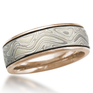 Winter Mokume Wedding Band with Darkened Grooves and Rose Gold Liner