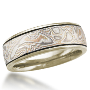 Champagne Mokume Wedding Band with 10k Green Gold Liner and Darkened Grooves
