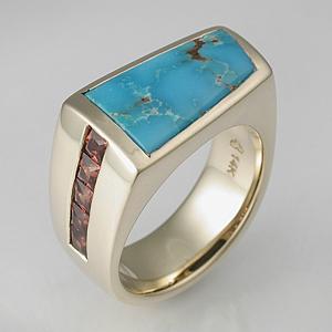 Turquoise And Meteorite Wedding Ring Sonoran Mens