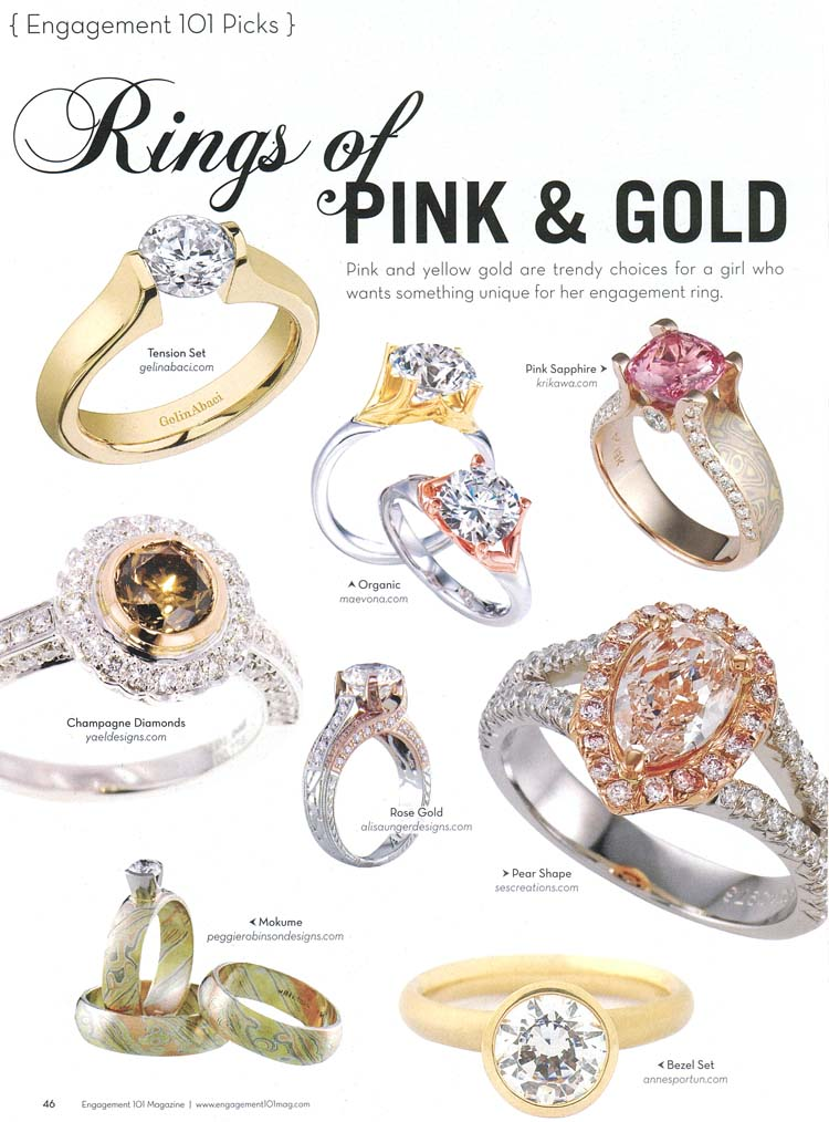 Engagement 101 Magazine Rings of Pink and Gold Article