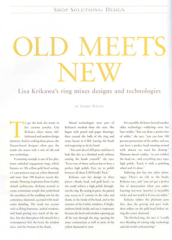Old Meets New Article in MJSA Journal July 2008