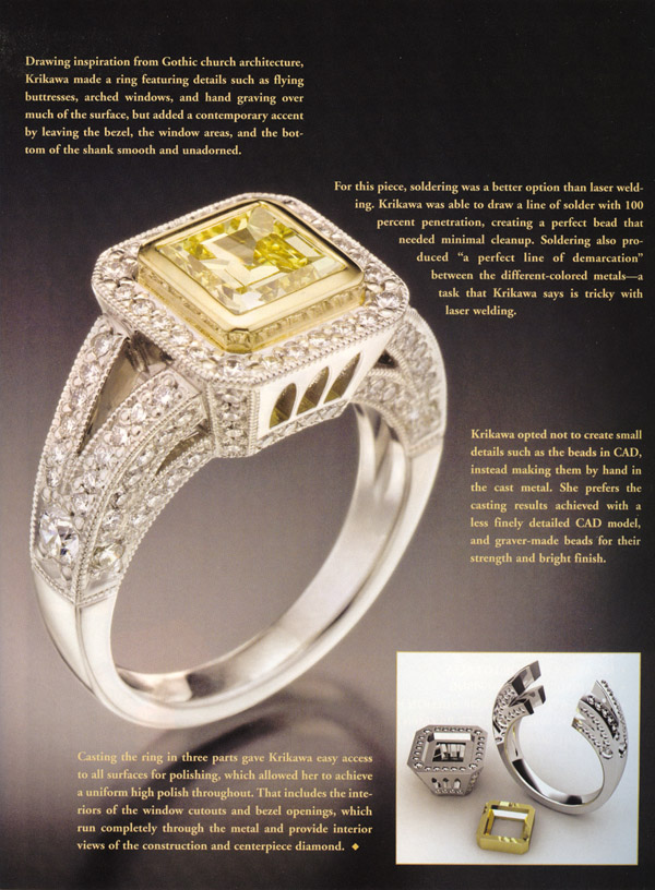 Brilliant Cathedral Ring in MJSA Journal July 2008