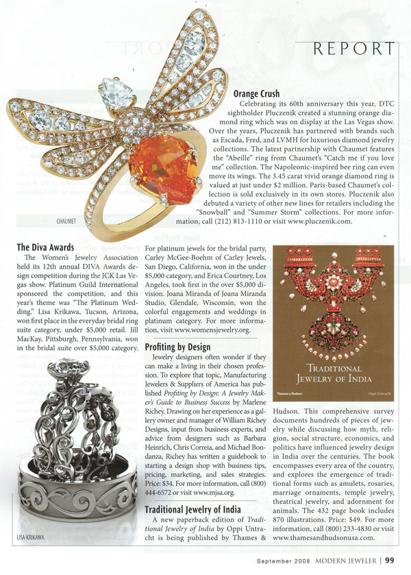 Modern Jeweler September 2008 Diva Awards article feat. Krikawa Delicate Leaf set