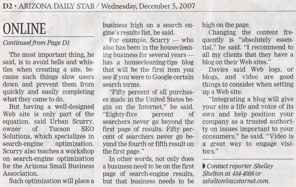 Arizona Daily Star ArticleDecember 5, 2007 featuring Krikawa