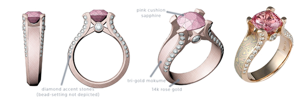 Computer Renderings of Juicy Light Engagement Ring
