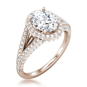 Oval Halo Pave Double Band Engagement Ring in 14k Rose Gold