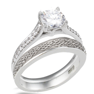 Pave Cathedral Engagement Ring with Tibetan Knot Wedding Band