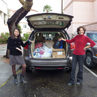 Car loaded with food drive donations