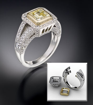 Micro Pave in Brilliant Cathedral Engagement Ring
