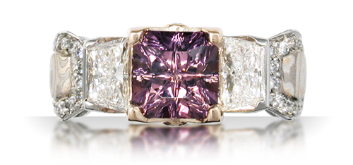 purple sapphire emerald cut engagement ring