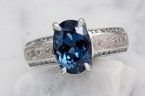 Blue Oval Spinel in Mokume Gane Engagement Ring