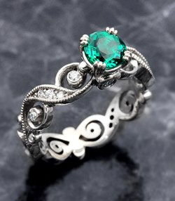Infinity Leaf Engagement Ring with Emerald
