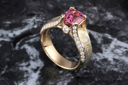 Juicy Light Mokume Engagement Ring with Spinel