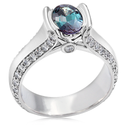 Modern Juicy Liqueur Engagement Ring With Oval Alexandrite