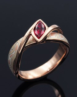 Mokume River Twist with Marquise Ruby
