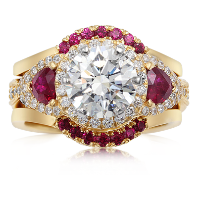 Vintage Old Worl Engagement Ring with Rubies
