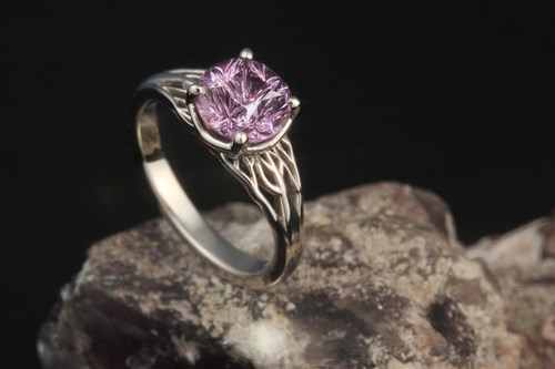 Tree of Life Engagement Ring with Spinel