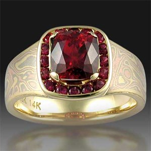 Unique Ruby Engagement Ring with Mokume