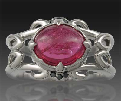 Unusual Ruby Cabochon Engagement Ring