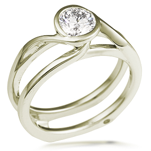 Swirl Scaffolding Engagement Ring in 10k Green Gold