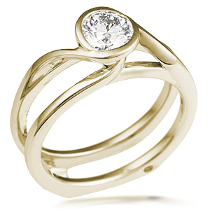 Scaffolding Swirl Engagement Ring in 14k Yellow Gold