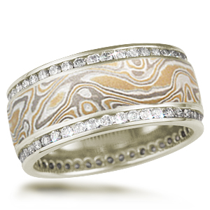 Double Diamond Channel Wedding Band in Summer Mokume and 10k Green Gold