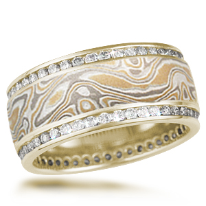 Double Diamond Channel Wedding Band in Summer Mokume and 14k Yellow Gold