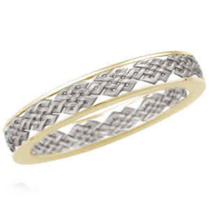 Sculptural Tibetan Knot Wedding Band with Yellow Gold Rails