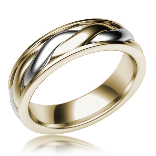 Two Tone Twist Mens Wedding Ring in Palladium and Yellow Gold