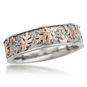 Two Tone Oak Leaf Wedding Band in 14k White Gold and 14k Rose Gold