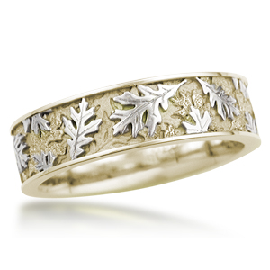 Two tone Oak Leaf Wedding Band in 14k Yellow Gold and White Gold