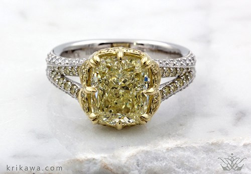 Natural Fancy Colored Diamonds Engagement Rings By Krikawa Master Jewelers