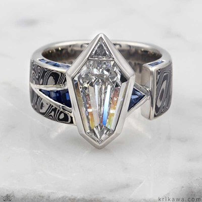 unique diamond ring with shield shaped diamond