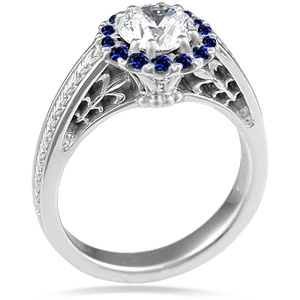 Vintage Garden Fountain Engagement Ring with Sapphire Halo