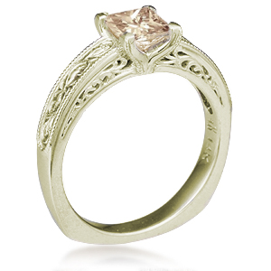 Vintage Scrollwork Solitaire Engagement Ring in 10k Green Gold with a light Champagne Diamond