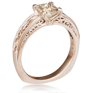 Vintage Scrollwork Solitaire Engagement Ring in Rose Gold with a Light Champagne Diamond