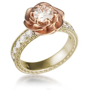 Wide Vintage Rose Engagement Ring in Yellow Gold and Rose Gold