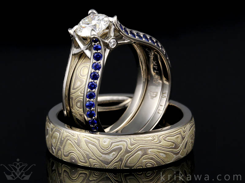 Winter Mokume matching wedding set
