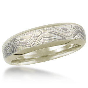 Winter Mokume Beveled Wedding Band with 10k Green Gold Liner